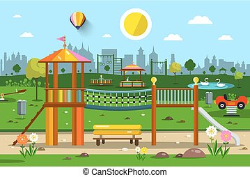 Playground in City Park Vector