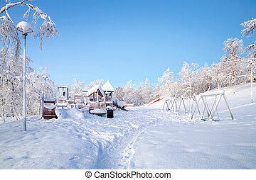 Playground in winter - Winter Landscape of Kiruna Garden and...