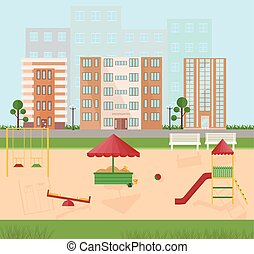 Playground kindergarten city buildings views. Vector flat styles
