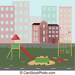 Playground kindergarten city town views. Vector flat style