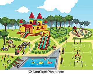 Playground map - A vector illustration of playground map