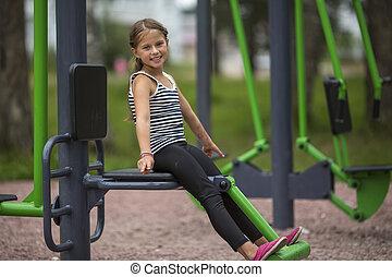 playground., mignon, petite fille