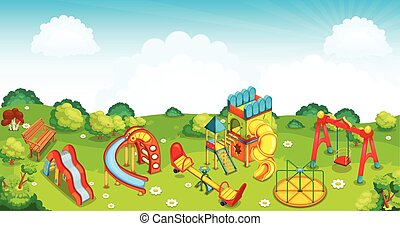 Playground on the meadow. Vector