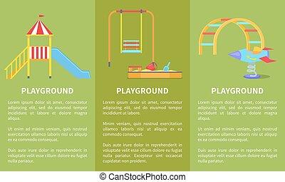 Playground Posters with Childrens Slide, Sandbox -...