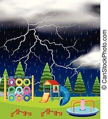 Playground scene on thunderstorm night