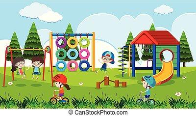 Playground scene with happy children at daytime