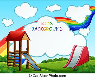 Playground scene with rainbow on the background