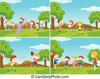 Playground scenes with kids playing sports