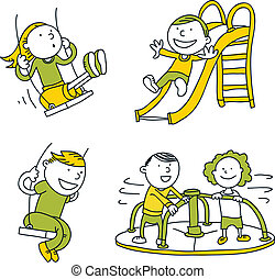 Playground Set - A cartoon set of simple cartoon children on...