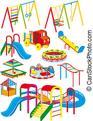 playground set - A set of swings, slides and rides for the ...
