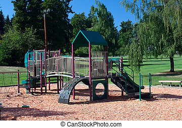 Playground Set in Beautiful Park - A playground set...