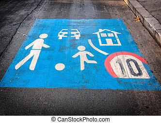 Children playground sign. Children on seesaw playground ...