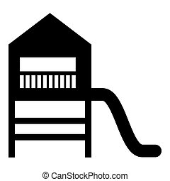 Playground slide Children's slide Kids playground Children's town with slide icon black color vector illustration flat style image