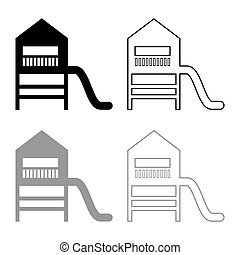Playground slide Children's slide Kids playground Children's town with slide icon outline set black grey color vector illustration flat style image