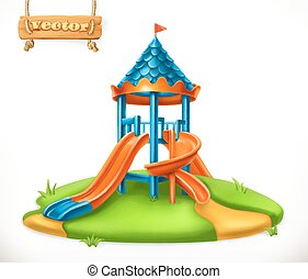 Playground slide. Play area for children, 3d vector icon