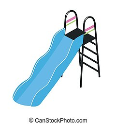 Playground slide with ladder isolated on white background. Outdoor device or tool for children's play activity, entertainment, amusement and fun. Colorful vector illustration in flat cartoon style.