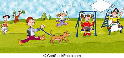 playground, swing, baby running with dog on a leash