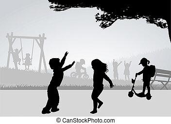 playground., tocando, crianças