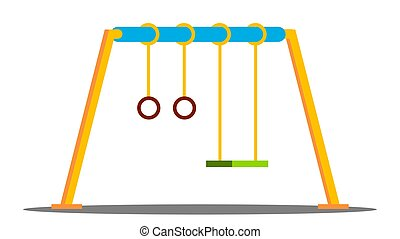 playground., vector., αιωρούμαι , απομονωμένος , νηπιαγωγείο , γελοιογραφία , έξω , διαμέρισμα , εικόνα , πάρκο