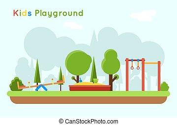 Playground vector background - Playground background. Play...