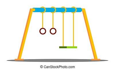 playground., vector., balançoire, isolé, jardin enfants, dessin animé, dehors, plat, illustration, parc