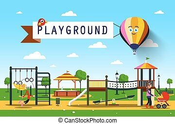 playground., vektor, parkera, illustration.