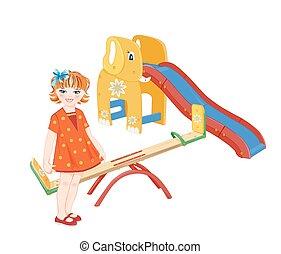 playground., wippe, slider., m�dchen, ingwer