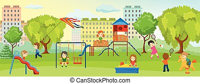 Playground With Children Composition