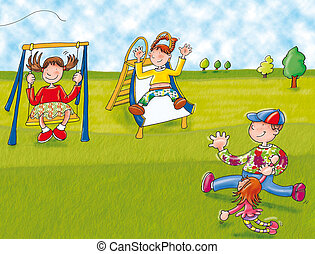 playground with swings and children