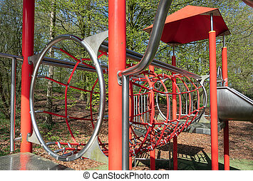 Playground with with slide in park Lelystad, The Netherlands