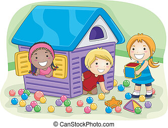 Playhouse - Illustration of Kids Playing in a Playhouse