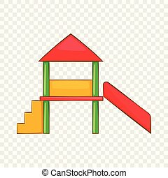 Playhouse with slide icon, cartoon style