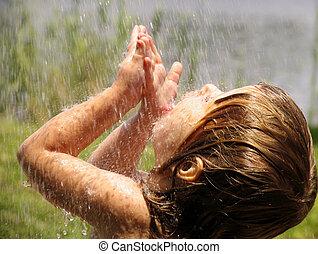 playing, в, , дождь