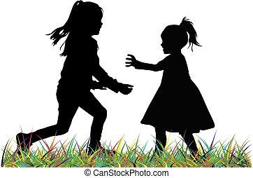 playing., צלליות, ילדים