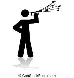 Playing a bugle