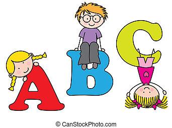 playing., alfabet, barn