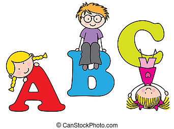 playing., alphabet, enfants
