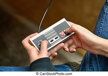 Playing an old gaming console