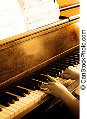 Playing Antique Piano