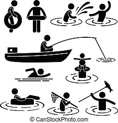 A set of pictogram representing people's activity in the river and water.