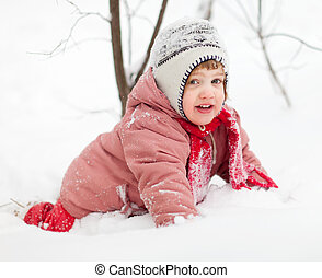 Playing baby in winter