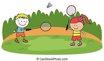 Playing badminton kids