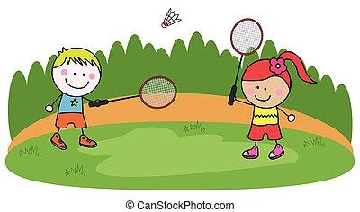 Playing badminton kids