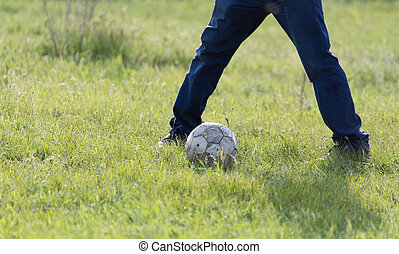 playing ball on the grass