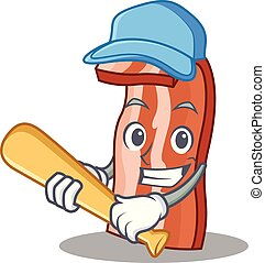Playing baseball bacon character cartoon style vector...