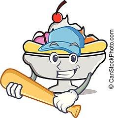 Playing baseball banana split character cartoon vector...