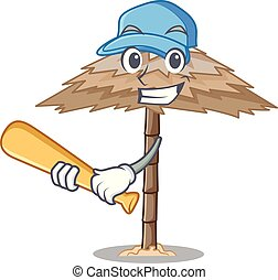 Playing baseball beach shelter buildings with palm cartoon...