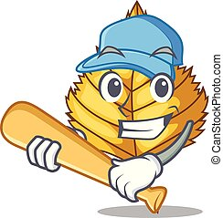 Playing baseball birch leaf in the mascot shape vector...