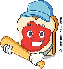 Playing baseball bread with jam character cartoon