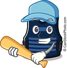 Playing baseball bulletprof vest isolated in the mascot